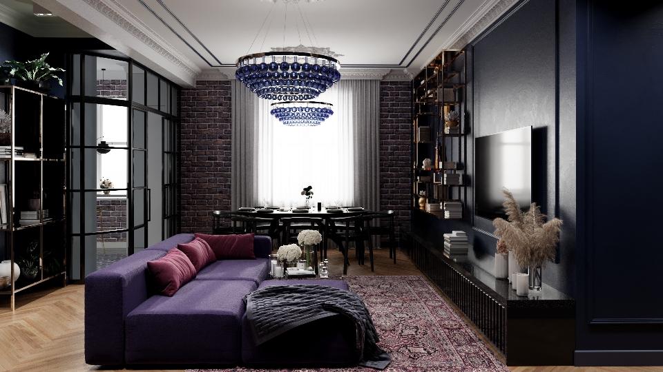 Темная гостиная с элементами лофта