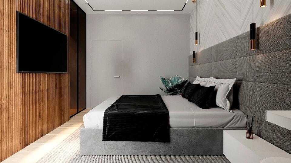 Серая спальня в современном стиле