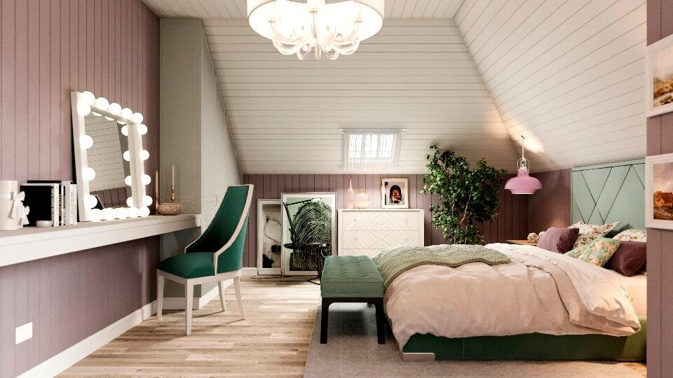 Спальня на мансарде в современном стиле