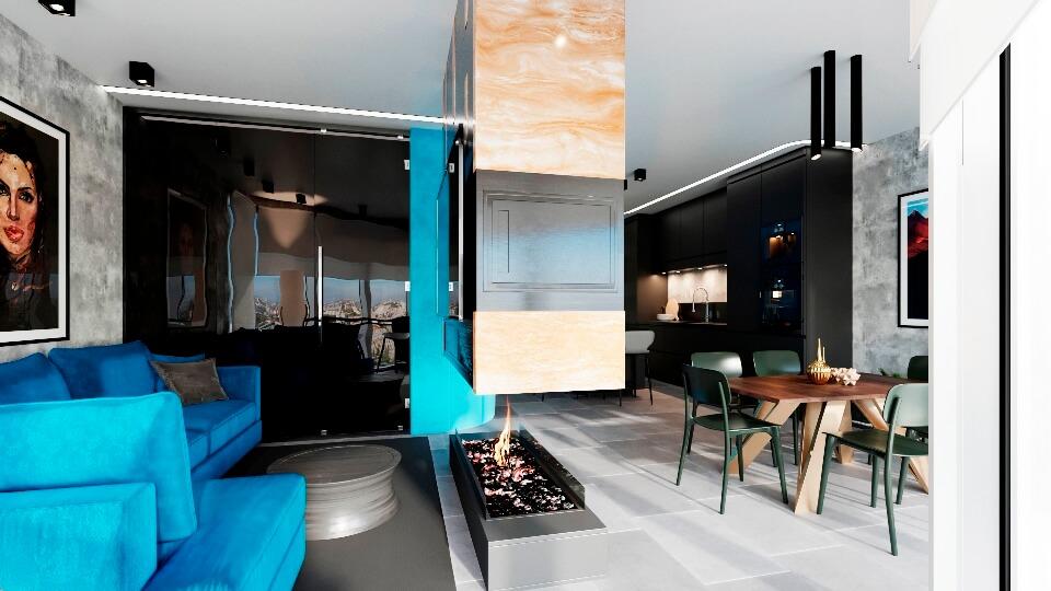 Бирюзовая гостиная в современном стиле