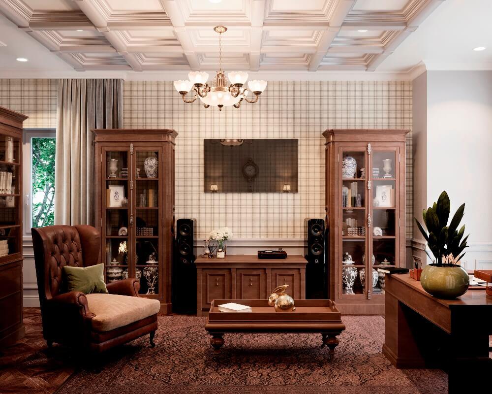 Домашний кабинет в английском стиле