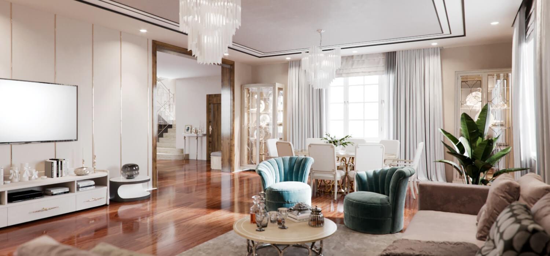 Светлая гостиная частного дома