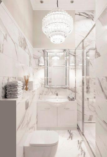 Мраморный санузел частного дома  в неоклассическом стиле