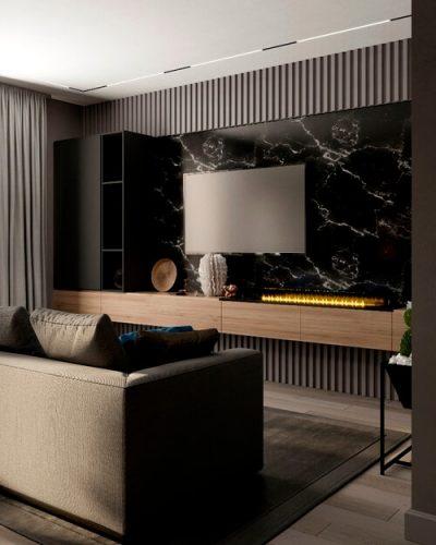 Темная гостиная в современном стиле
