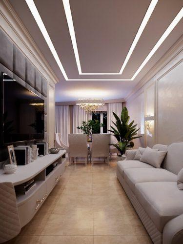 Уютная гостиная в неоклассическом стиле