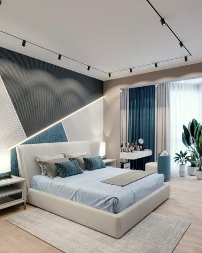 Голубая спальня в современном стиле
