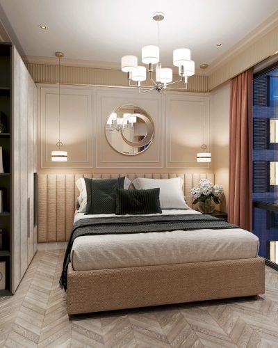 Миниатюрная спальня в кремовых тонах