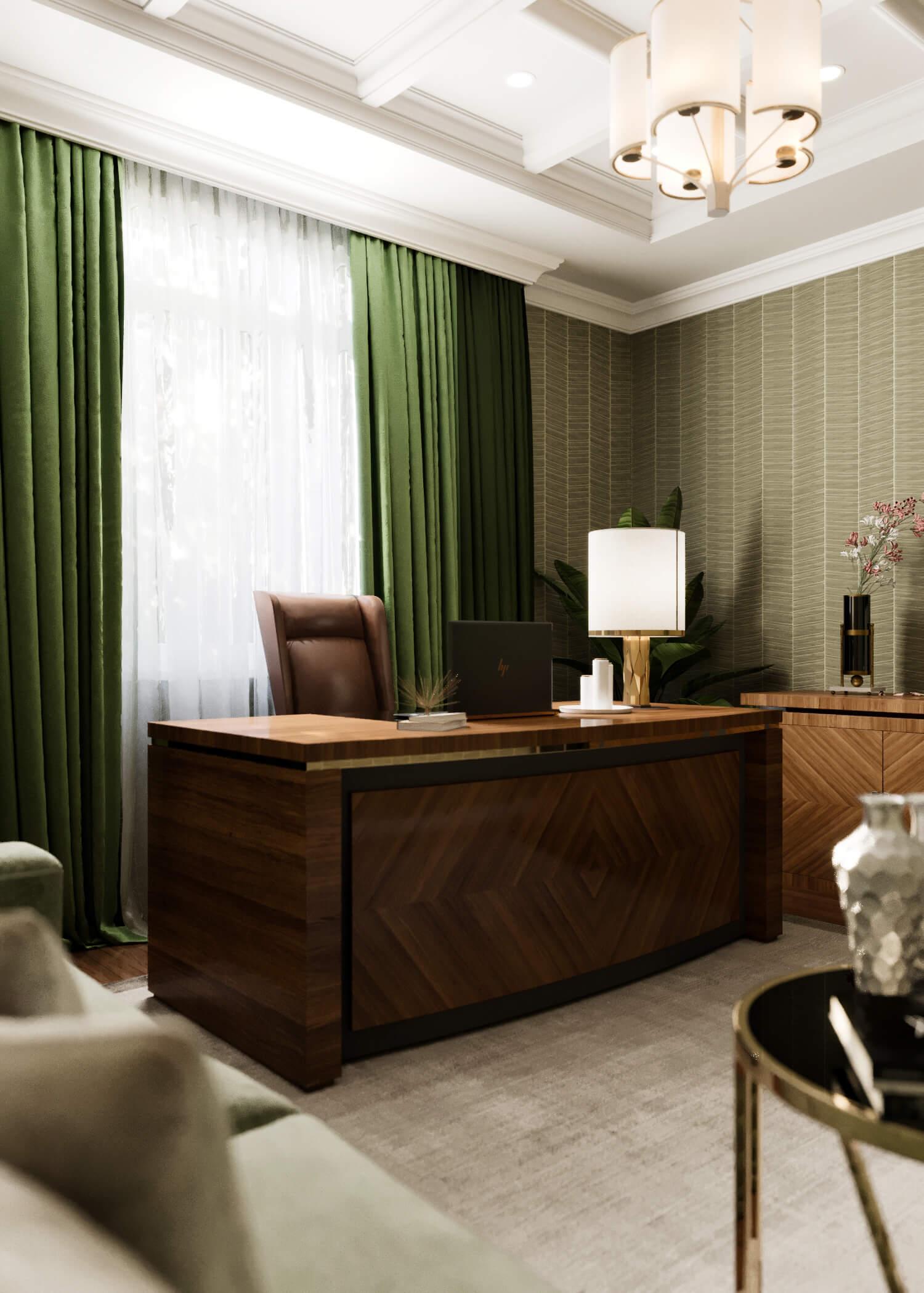 Строгий домашний кабинет с зелеными акцентами