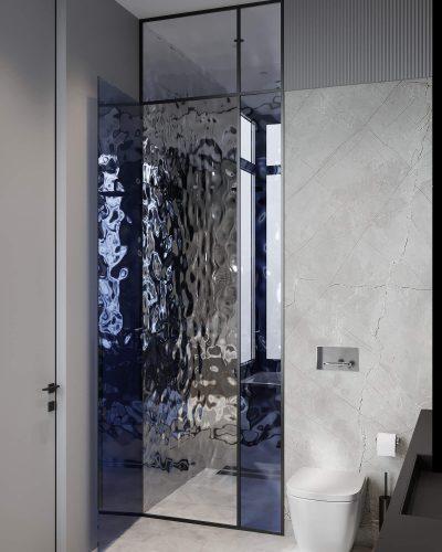 Монохромный санузел с контрастными вставками стекла