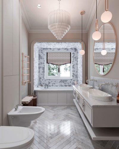 Ванная комнаты в спокойных приглушенных тонах