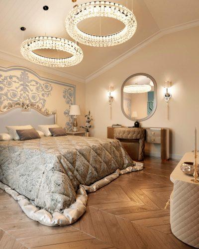 Помпезная спальня в теплых оттенках