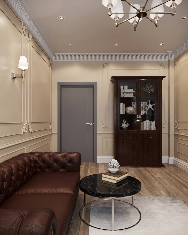 Домашний кабинет в кремовых оттенках