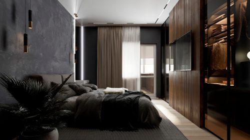 Темная спальня с текстурами дерева и бетона