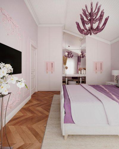 Гостевая спальня в розовых тонах