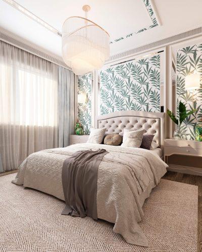 Светлая кремовая спальня
