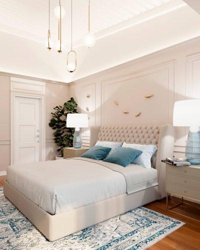 Спальня в приятных светлых тонах