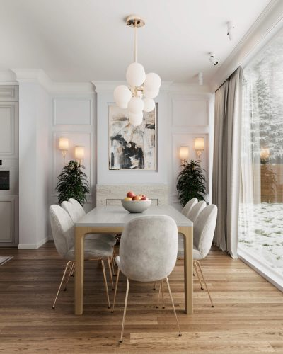 Воздушная кухня-гостиная в розовых оттенках