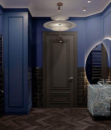 Темная ванная в синих тонах