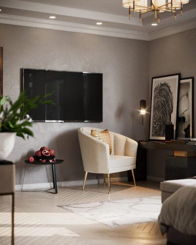 Гостевая спальня частного дома в серых тонах