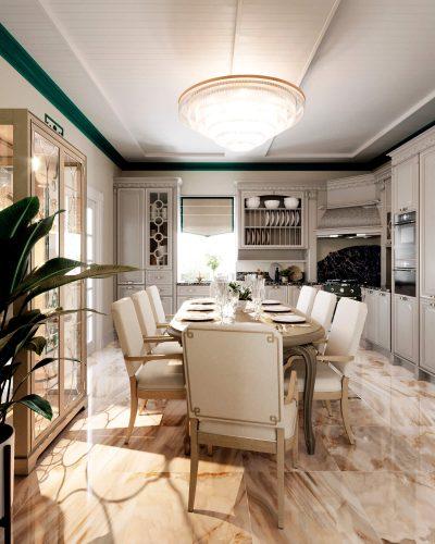 Контрастная кухня-гостиная в светлых тонах
