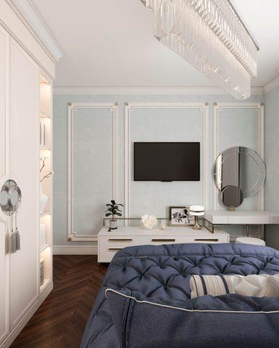 Светлая спальня в голубых тонах