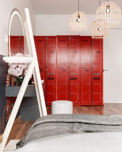 Светлая спальня с цветными обоями и мебелью