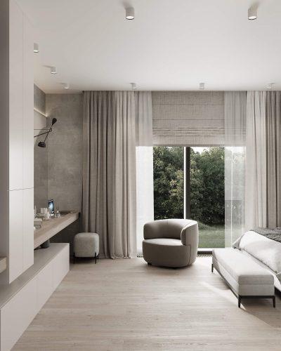 Минималистичная спальня с контрастным изголовьем кровати