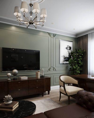 Домашний кабинет в зеленых тонах