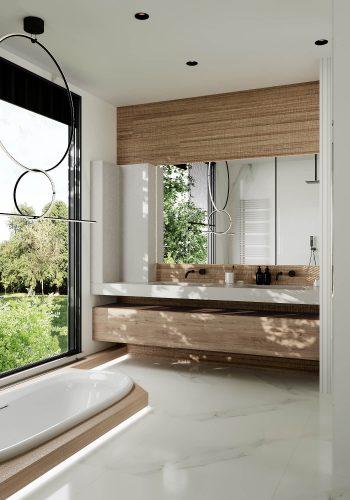 Светлый и просторный санузел с фактурами мрамора и дерева