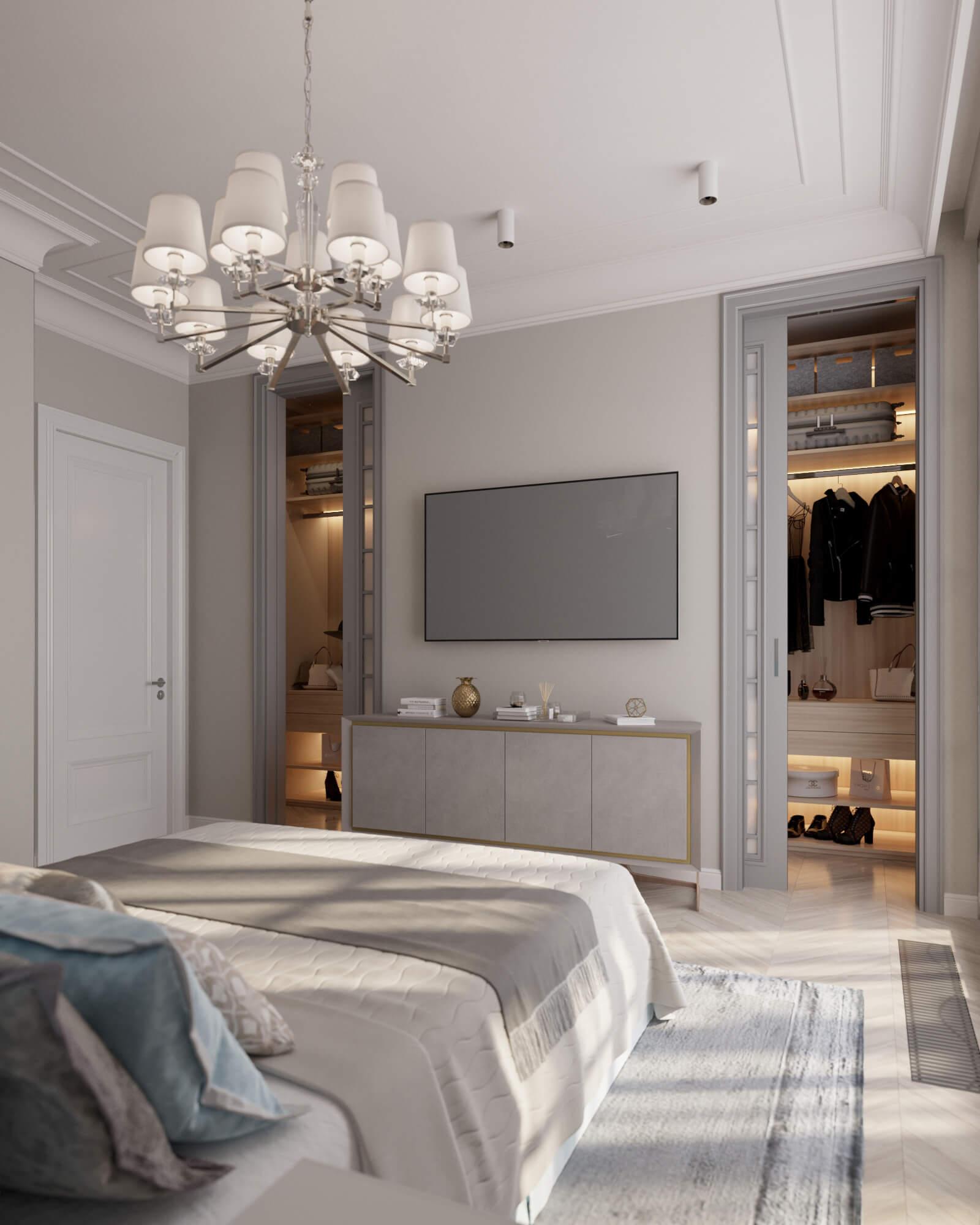 Нежная просторная спальня с цветным изголовьем кровати