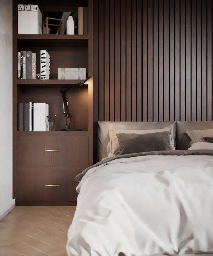 Гостевая спальня частного дома в текстурах натуральных материалов