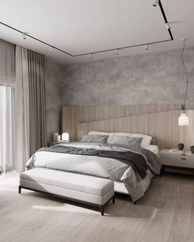 Монохромная спальня в теплых тонах