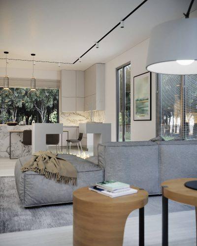Монохромная и светлая кухня-гостиная с фактурами камня и дерева