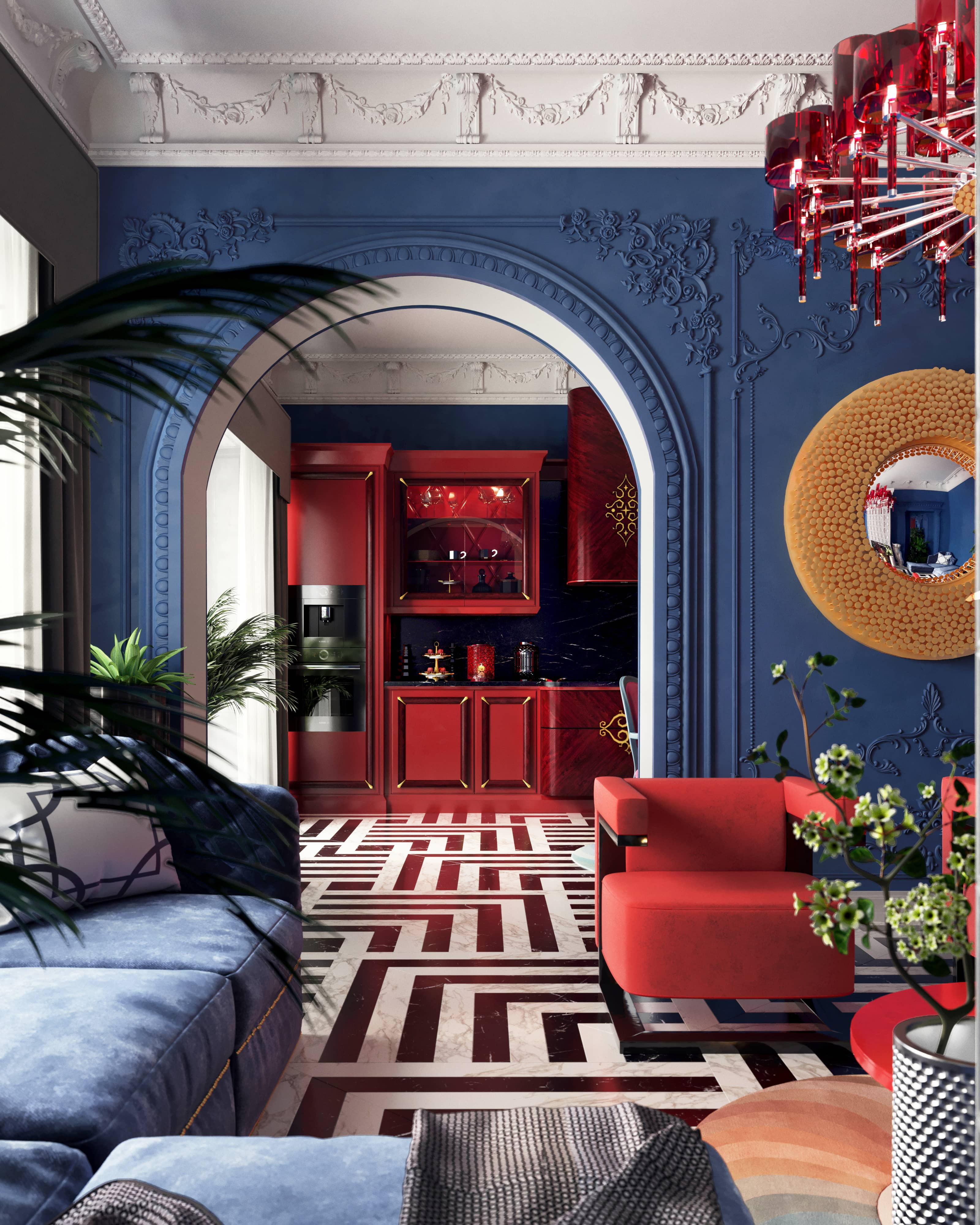 Цветная и контрастная кухня-гостиная