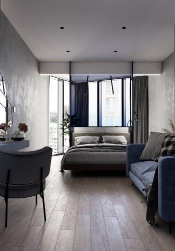 Монохромная спальня с стеклянным изголовьем кровати